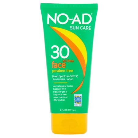 No Ad Sun Care Oil Free Face Sunscreen Lotion Broad Spectrum  Spf 30  6 Fl Oz