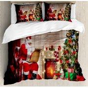 santa king size duvet cover set old santa claus sitting at home at christmas night - Christmas Bedding Sets