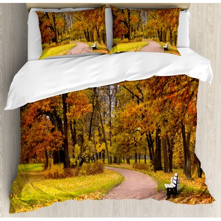 Fall Decor King Size Duvet Cover Set  Idyllic Rural Landscape Tranquility Park Pathway Woodland Peaceful Environment  Decorative 3 Piece Bedding Set With 2 Pillow Shams  Multicolor  By Ambesonne