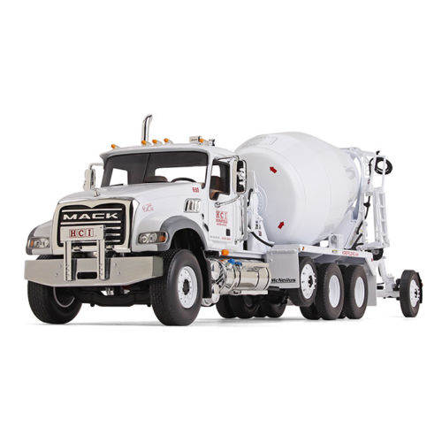 Mack Granite with McNeilus Bridgemaster Concrete Mixer White Horsfield Construction HCI 1 34 Diecast Model by First Gear by First Gear