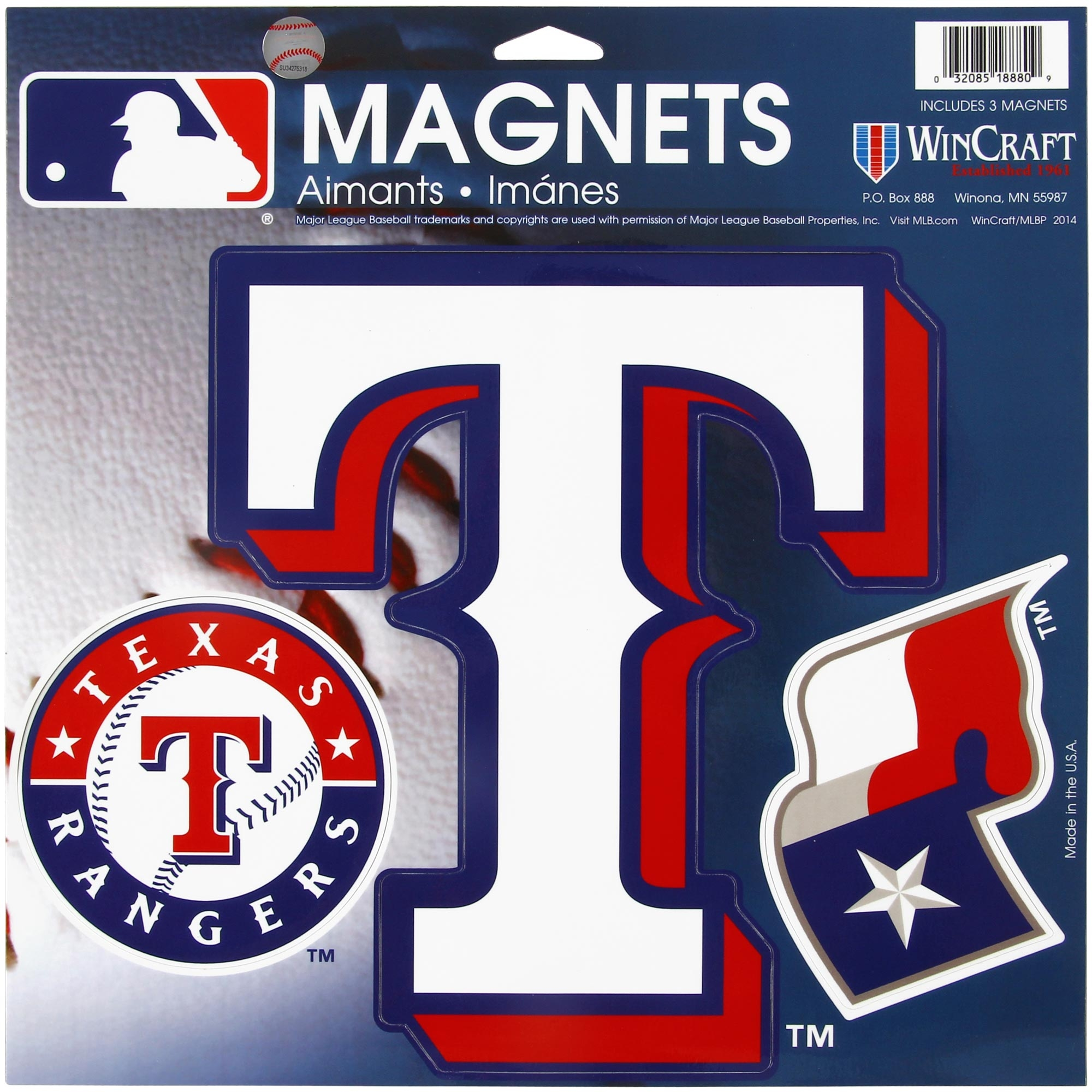 "Texas Rangers WinCraft 11"" X 11"" 3pk Car Magnets - No Size"