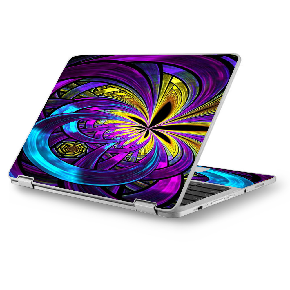 "Skins Decals for Asus Chromebook 12.5"" Flip C302CA Laptop Vinyl Wrap / Purple Beautiful Design"