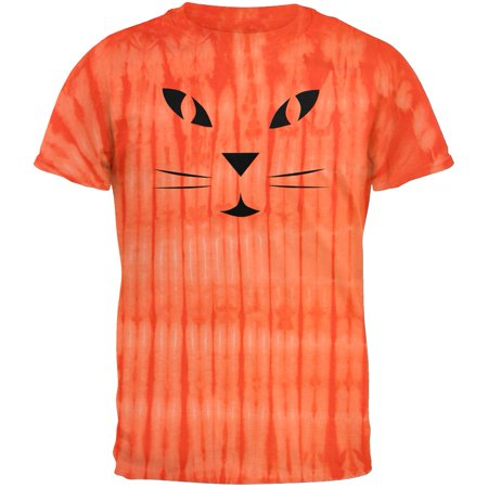 Halloween Jack-O-Lantern Cat Face Tie Dye T-Shirt