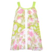 Little Girls Green White Floral Dotted Print Sleeveless Top 4