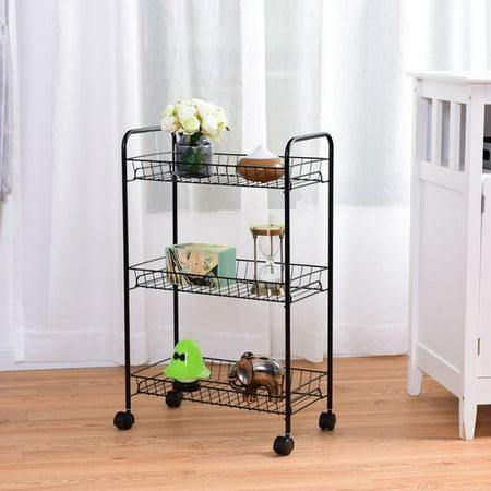 Costway 3 Tier Rolling Kitchen Trolley Utility Cart Wire Storage Shelf Baskets ()