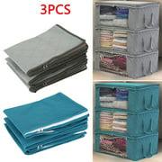 3PCS Non-woven Dust Proof Foldable Wardrobe Storage Box Moisture Proof Beddings Quilt Clothes Organizer Bag