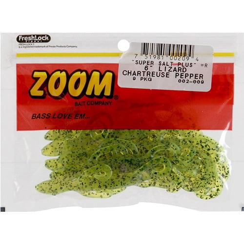 "Zoom Super Salt Plus 6/"" Lizard Chartreuse Pepper Red Bait New 9 Pack"