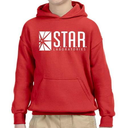 - New Way 859 - Youth Hoodie Star Laboratories Labs Comic Hero Unisex Pullover Sweatshirt Small Red