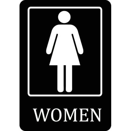 Womens Bathroom Black Sign - Large 12 x 18 Restroom Signs ...