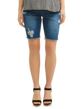 d46404ee9276c Product Image Maternity Over the Belly Raw Edge Destructed Denim Bermuda