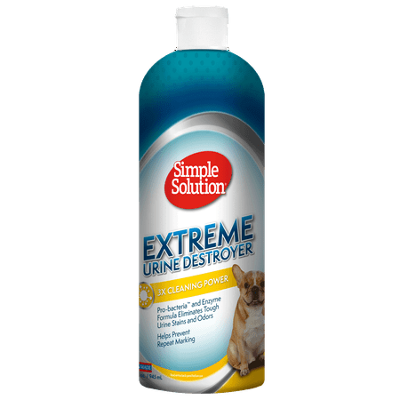 Simple Solution Extreme Urine Destroyer Enzymatic Cleaner | Pet Stain and Odor Remover with 2X Pro-bacteria Cleaning Power | 32