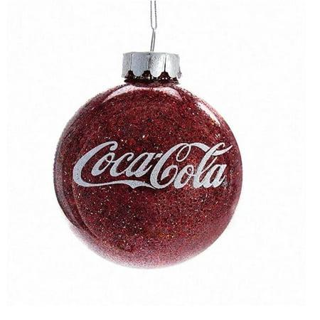 Authentic Coca Cola Coke Glitter Ball Christmas Ornament New with Box ()