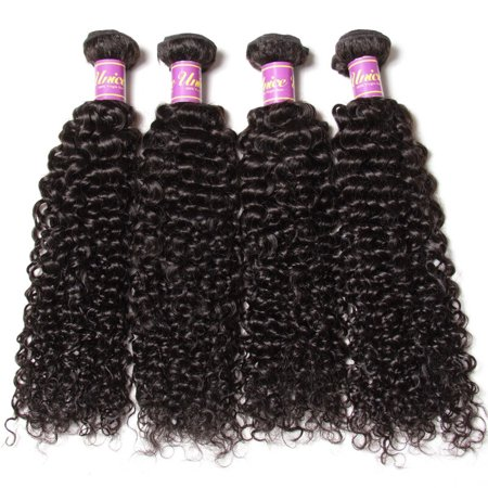 UNice Malaysian Jerry Curly Hair Remy Human Hair Weaves