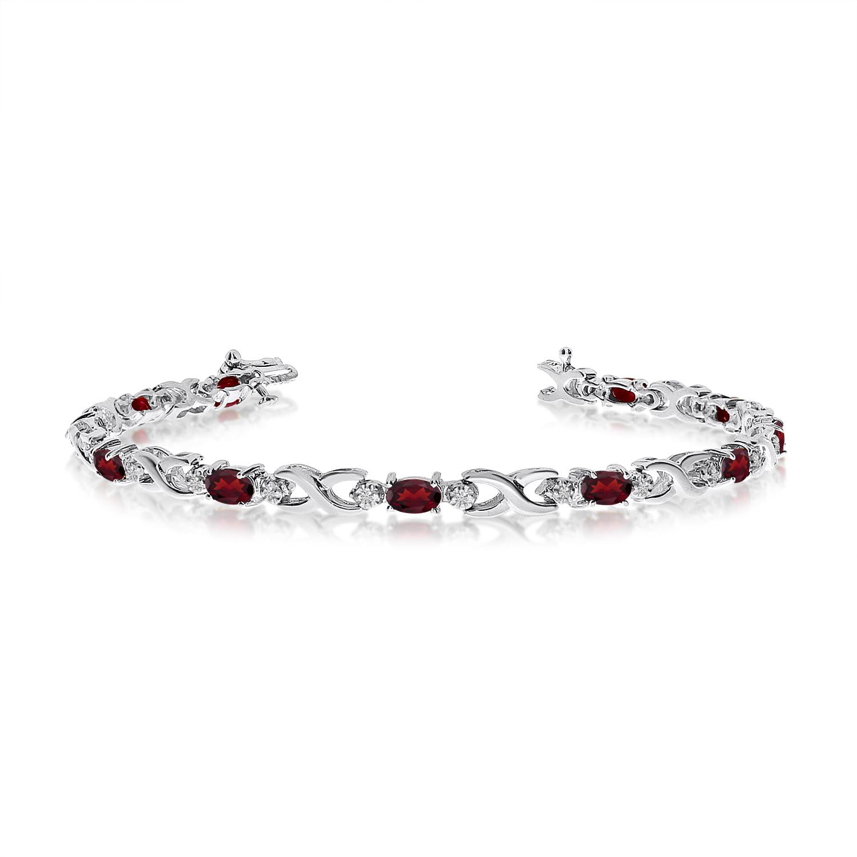 10K White Gold Oval Garnet and Diamond Bracelet by