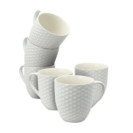 Elama Honeycomb 6-Piece 15 oz. Mug Set, in White