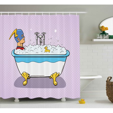 Comics Shower Curtain, Superhero Fast Furious Relaxing in Bubble Bath Shower with Rubber Duck Art Print, Fabric Bathroom Set with Hooks, Multicolor, by - Superhero Shower Curtain