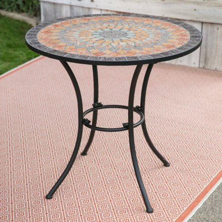 Belham Living Solita Mosaic 30 in. Round Outdoor Bistro Table Don't worry about using the Belham Living Solita Mosaic 30 in. Round Outdoor Bistro Table outdoors; it's specifically designed to be enjoyed on your patio or in your outdoor dining space. This Hayneedle bistro table features a colorful, hand-laid stone mosaic table top with a striking pattern of terra cotta, amber, blue, jade, and slate stones. The stones are cut into various shapes to form a unique design, created by Hayneedle with you in mind. A tough iron frame finishes off the piece. Just pull up a few chairs and invite three of your closest friends over to enjoy an intimate outdoor breakfast or barbeque.