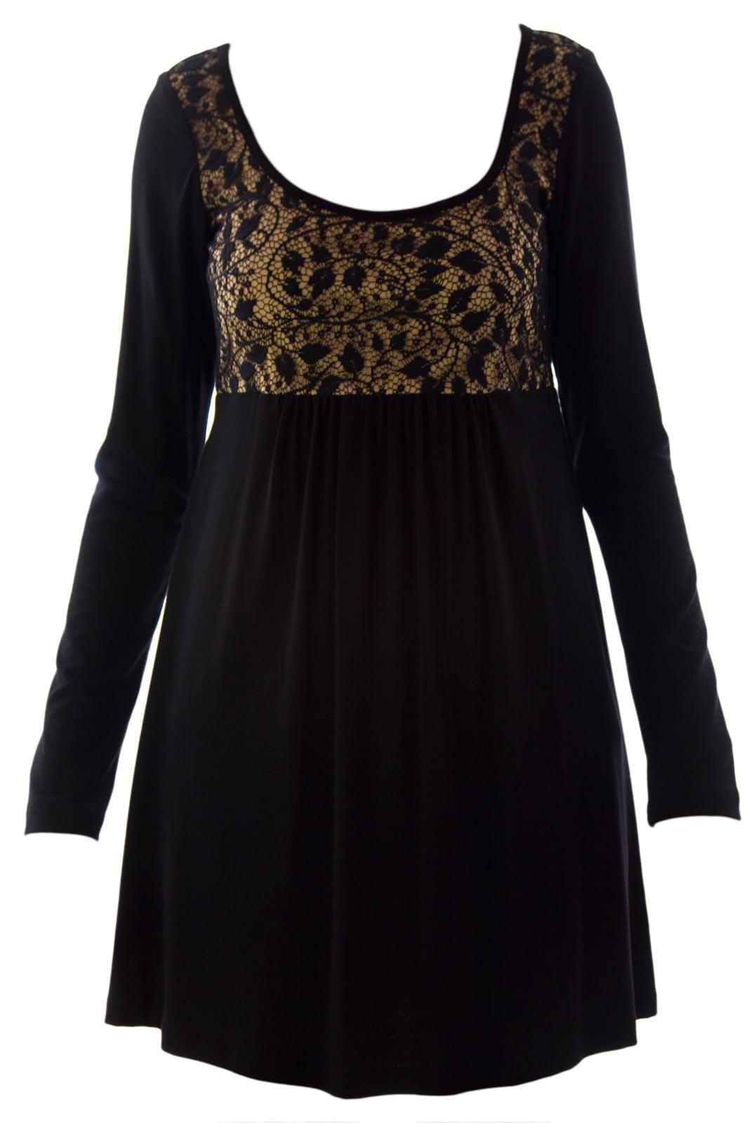 Olian Women's Lace Babydoll Maternity Top X-Small Black & Beige