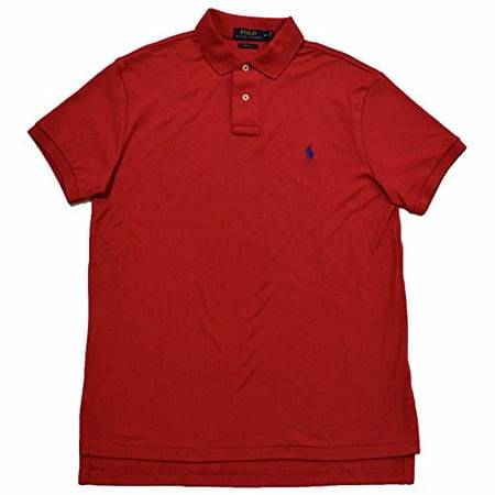 Polo Ralph Lauren Mens Custom Fit Interlock Polo Shirt (Sunrise Red, XL)