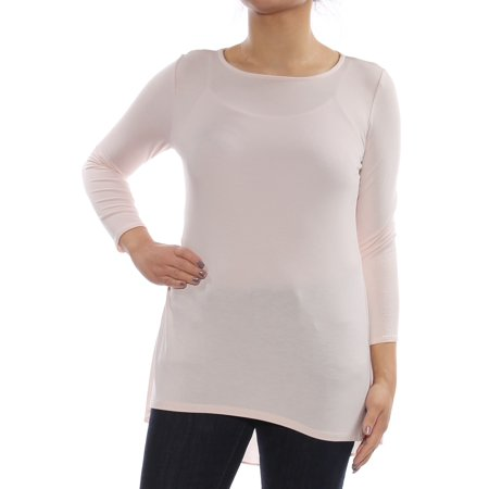 Rayon Woven Shirt - ALFANI Womens Pink Woven Back Long Sleeve Jewel Neck Top  Size: XS