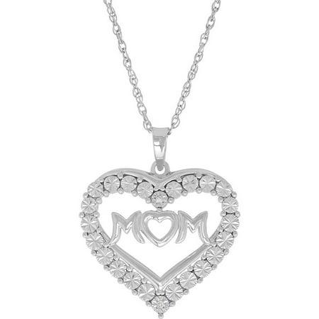 Womens Diamond Accent  Mom  Sterling Silver Heart Pendant  18