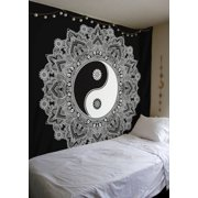 83''x59'' YingYang Mandala Tapestry Wall Hanging Indian Hippie Dorm Ethnic Cotton Decor