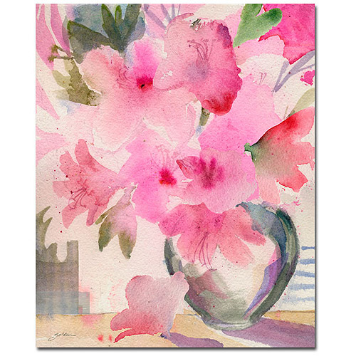 "Trademark Art ""Pink Azaleas"" Canvas Art by Sheila Golden"