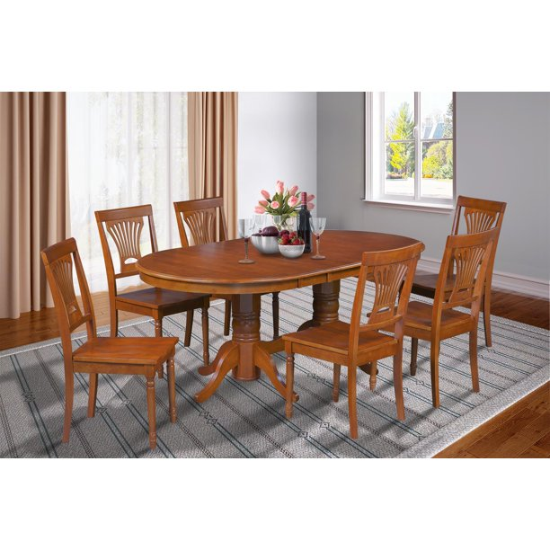 7 Piece Dining Room Set Table With A Butterfly Leaf And 6 Dining Chairs-Finish:Saddle Brown,Shape:Oval