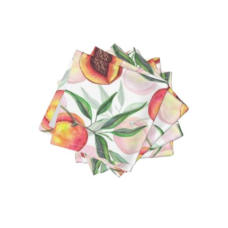 Cocktail Napkins Watercolor Fruit Whimsical Peaches Plant Tree Nature Set of - Peach Napkins