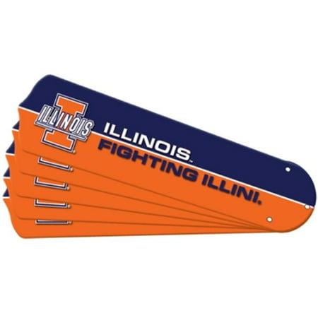 Illini Fan - Ceiling Fan Designers 7992-ILL New NCAA ILLINOIS FIGHTING ILLINI 42 in. Ceiling Fan Blade Set