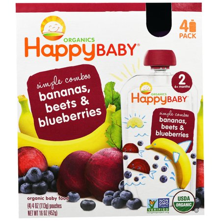 Nurture Inc. (Happy Baby), Organic Baby Food, Stage 2, Simple Combos, Bananas, Beets & Blueberries, 4 Pouches - 4 oz (113 g) Each(pack of 12)