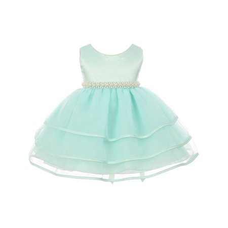 Chic Baby Girl Mint Organza Pearl Sash Triple Layer Flower Girl (Triple Layer Girl Dress)