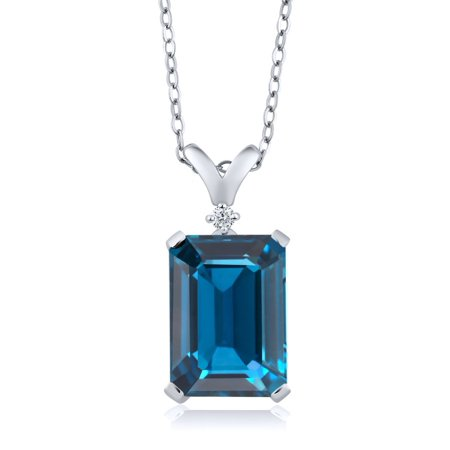 Swirl Blue Topaz Pendant (8.52 Ct Emerald Cut London Blue Topaz White Diamond 925 Sterling Silver Pendant )