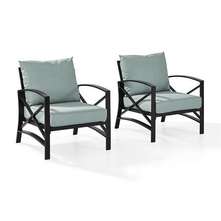 Crosley Furniture Kaplan 2 Pc Outdoor Seating Set With Mist Cushion - Two Outdoor Chairs ()