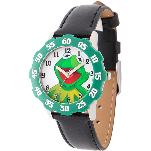 Disney Kermit the Frog Boys' Stainless Steel with Green Bezel Watch, Black Leather Strap