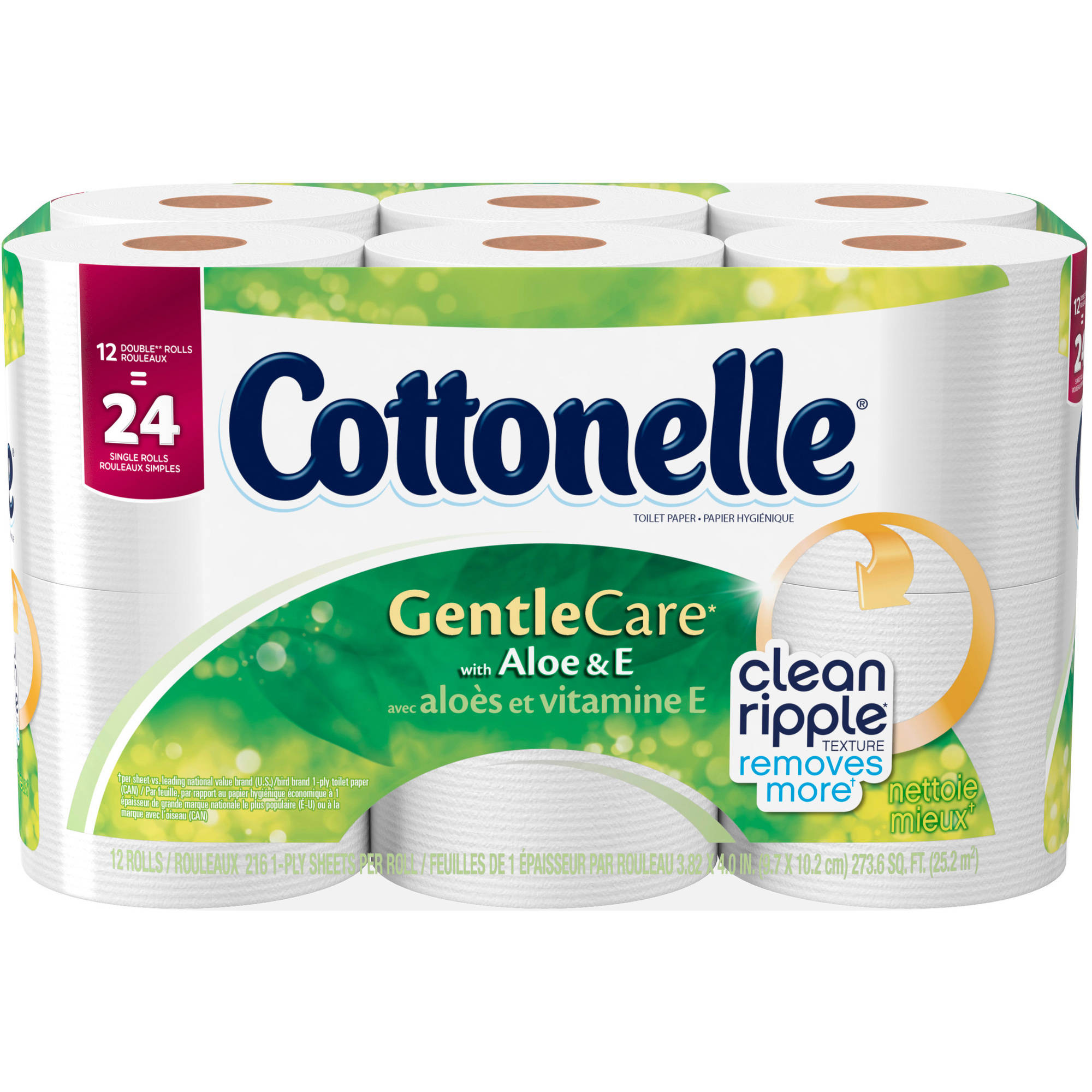 Cottonelle Gentle Care with Aloe & E Double Roll Toilet Paper, 216 sheets, 12 count
