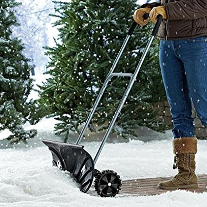 "Heavy Duty Adjustable Rolling Snow Pusher With 6"" Rubber Wheels, Metal handle adjusts"
