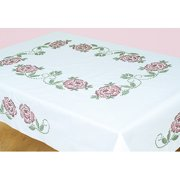 "Jack Dempsey XX Roses Stamped White Table Cloth, 50"" x 70"""