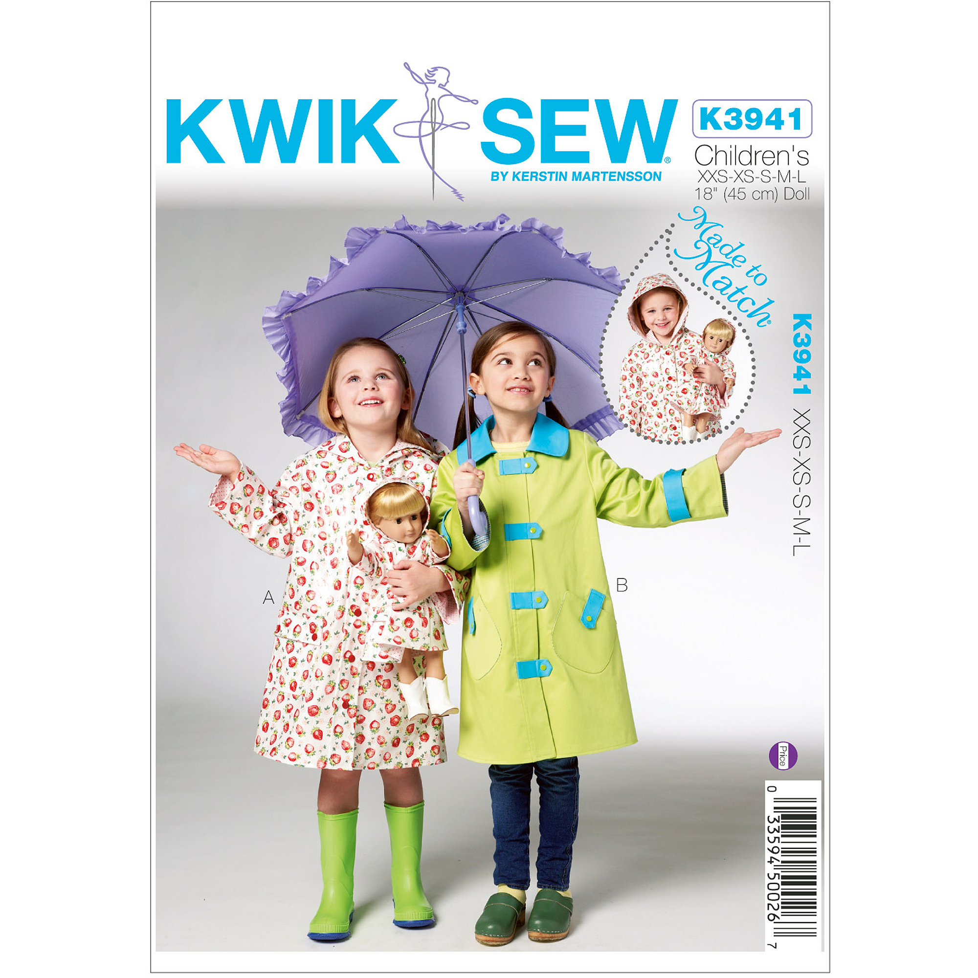 "Kwik Sew Pattern Children's and Doll Raincoats, (XXS, XS, S, M, L) and 18"" Doll"