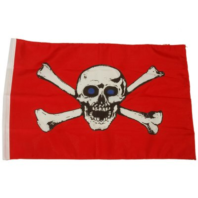 Small 12 Inch X 20 Inch Replacement Skull With Blue Eyes And Cross Bones Flag For Whip Antenna