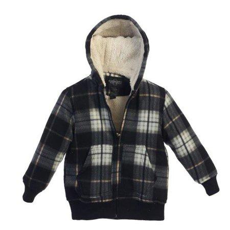 Boys Grey Black Plaid Sherpa Lining Hooded Flannel Jacket 8-16