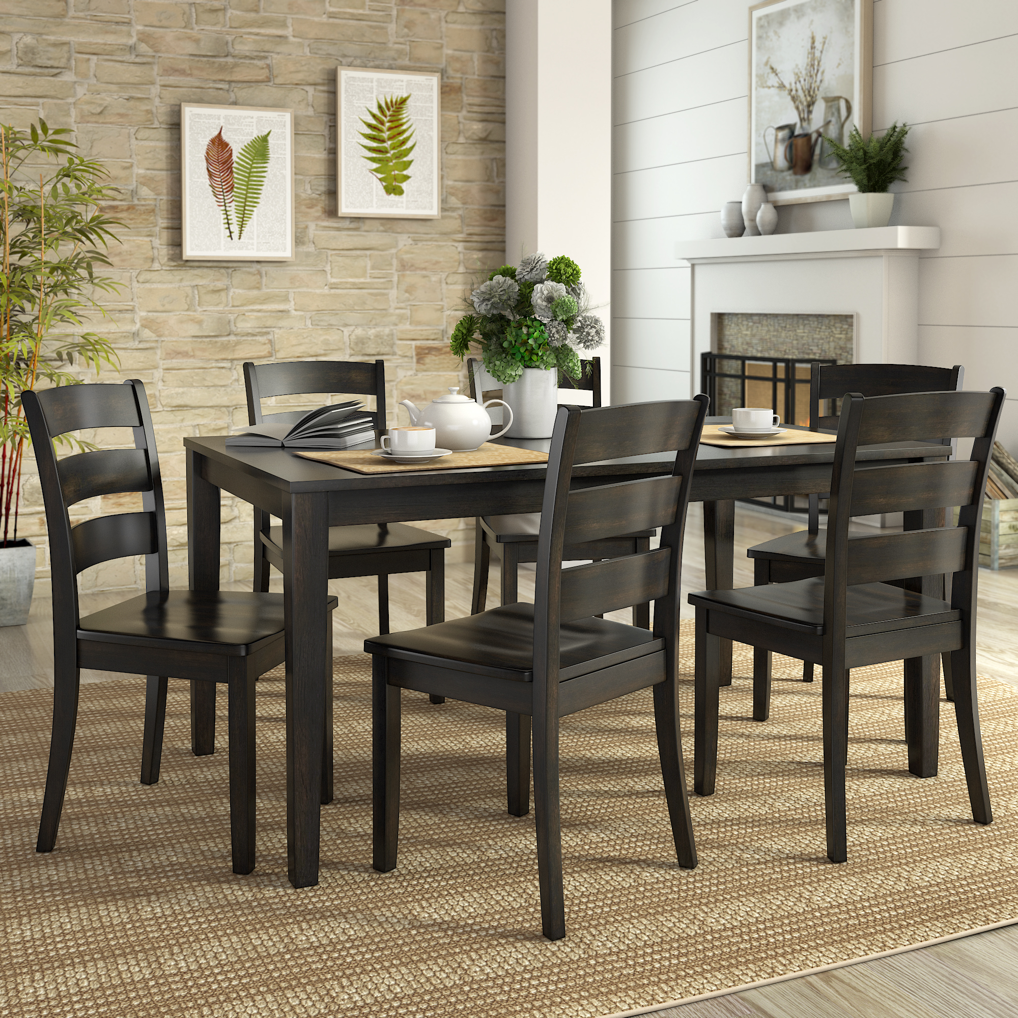 Lexington Large Dining Set with 6 Ladder Back Chairs