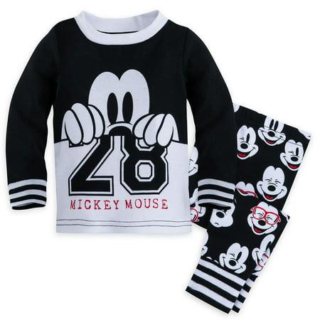 Disney Store Baby Boys Mickey Mouse Long Sleeve PJ PALS Pajama Set, Black/White