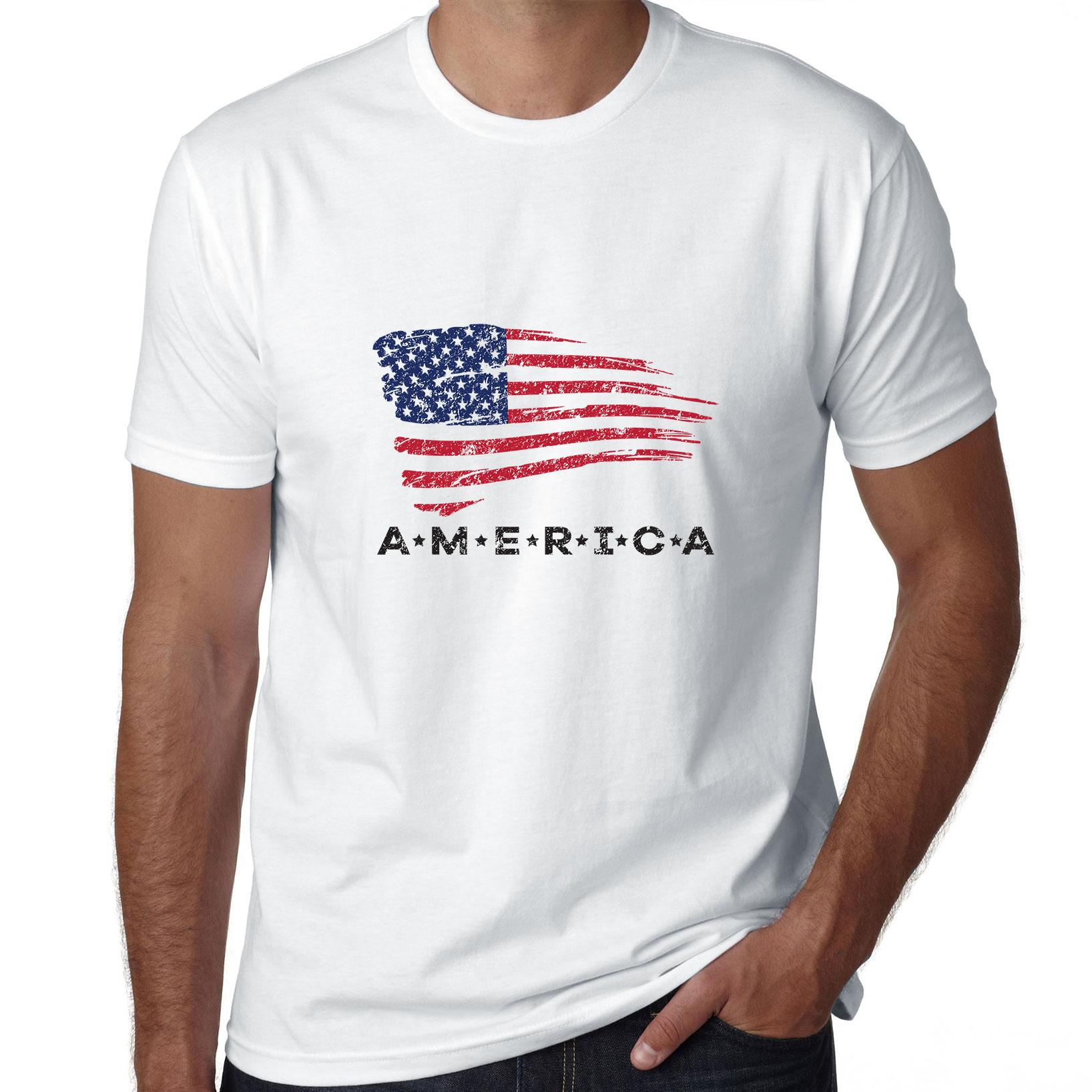 America with US Flag - United States Pride Men's T-Shirt