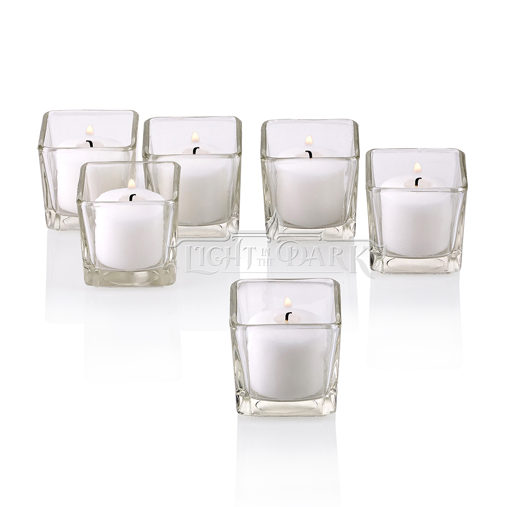 Clear Glass Square Votive Candle Holders With White Votive Candles Burn 10 Hours Set Of 12 by