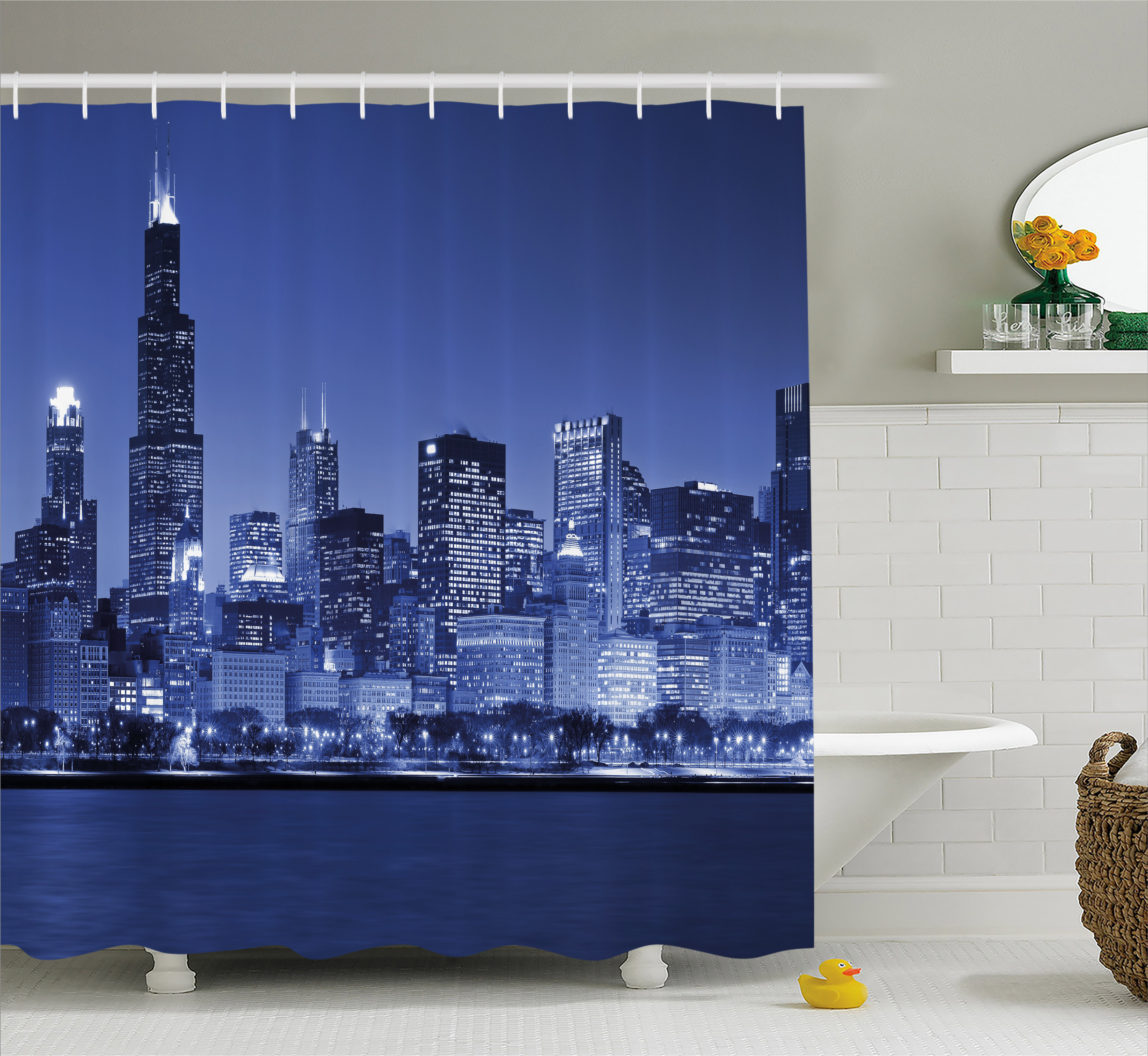 Usa Shower Curtain, Chigago City Skyline at Night with Tall Buildings Urban Modern Life American Town Scene, Fabric Bathroom Set with Hooks, 69W X 84L Inches Extra Long, Dark Blue, by Ambesonne