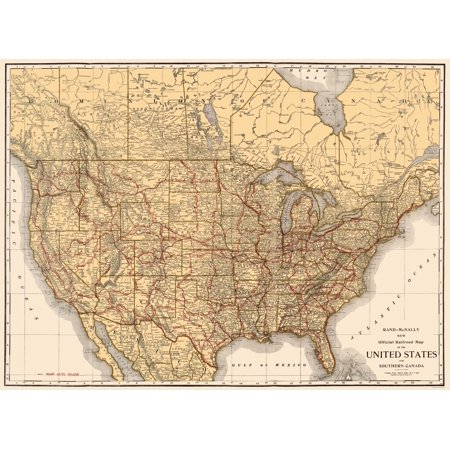 Old North America Map - Railroads in United States, Southern Canada ...