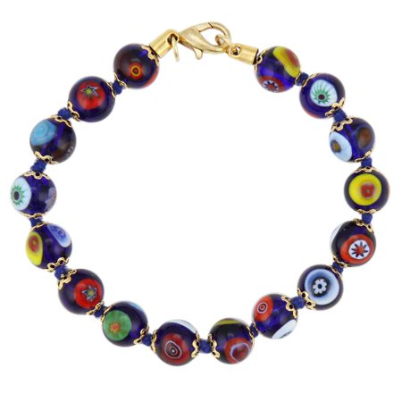 Blue Glass Bracelet (GlassOfVenice Murano Glass Mosaic Bracelet - Navy Blue)