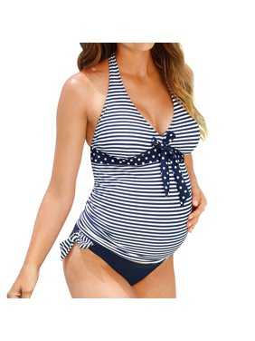 Nlife Pregnant Women Two-Piece V Neck Striped Polka Dots Swimsuit