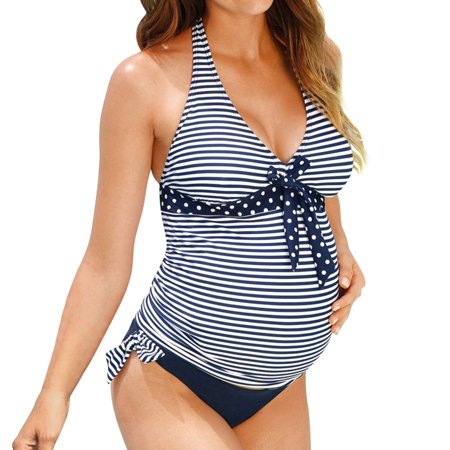 Maternity Swimsuit (Nlife Pregnant Women Two-Piece V Neck Striped Polka Dots)